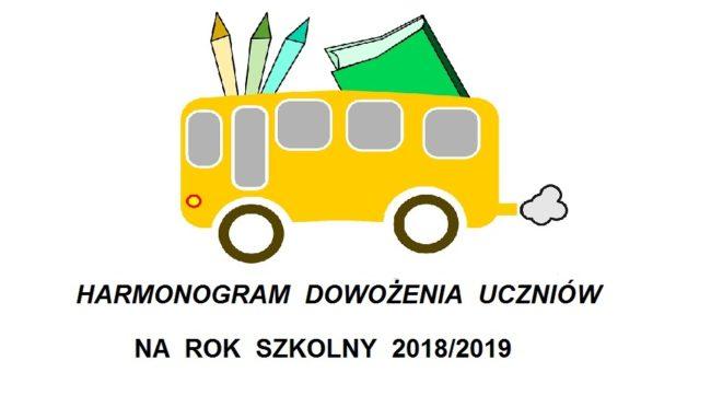 HARMONOGRAM  dowożenia uczniów w roku szkolnym 2018/2019